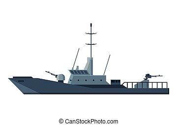 especial, ilustración, barco, vector, plano, pesado, ...