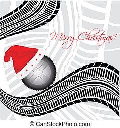 especial, navidad, plano de fondo, con, neumático, diseño