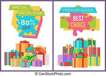 especial, promoción, mejor, opción, vector, ilustración