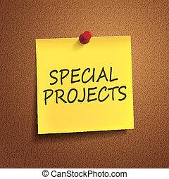 especial, proyectos, palabras, post-it