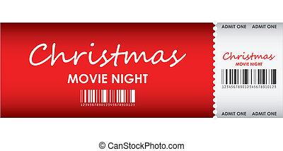 especial, rojo, boleto, para, navidad, película, noche