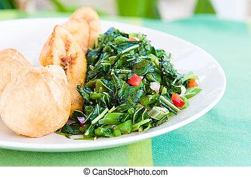 especialidad, caribe, plato, de, callaloo, (spinach),...