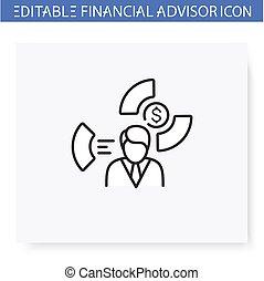 especialista, ventaja, icon., línea, allocation, editable