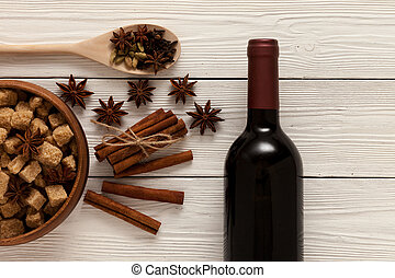 especias, calentó con azúcar y especias vino