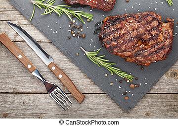 especias, romero, carne de vaca, filetes