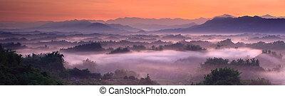 espectacular, el mar de nube, con, colina