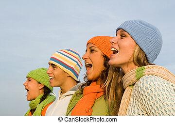 espectadores, deportes, aplausos, carolers, cantantes, grupo, villancico, canto, o