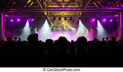 espectadores, multitud, gente, party;, espaldas, siluetas, ...