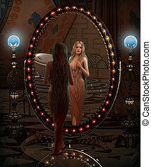 espelho, olhar, 3d, cg
