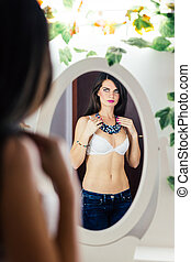 espelho, shirtless, mulher