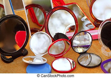 espelhos, redondo, loja, coloridos
