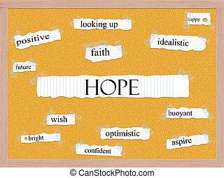 esperança, corkboard, palavra, conceito