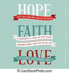 esperança, fé, amor, significado, de, bíblia, tipografia,...