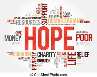esperança, palavra, nuvem