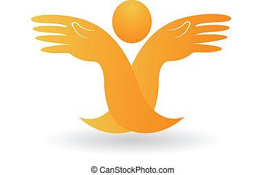 esperançoso, mãos, logotipo