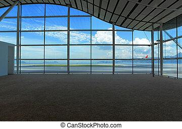 esperando, corredor, em, aeroporto