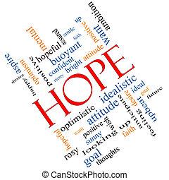 esperanza, palabra, nube, concepto, angular