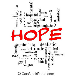 esperanza, palabra, nube, concepto, en, rojo, tapas