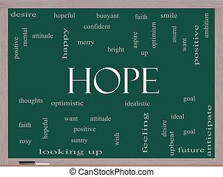 esperanza, palabra, nube, concepto, en, un, pizarra