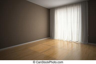 esperar, arrendatarios, habitación, vacío