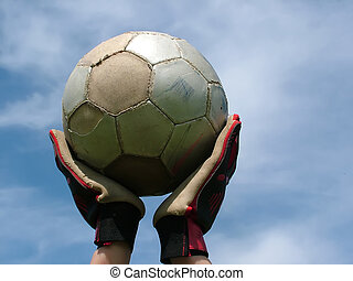 esperar, fútbol, -, juego