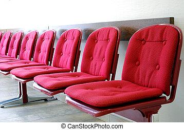 esperar, fila, habitación, rojo, asientos