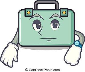 esperar, maleta, estilo, caricatura, mascota