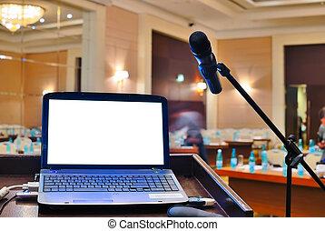 esperar, orador, cuaderno, tribuna