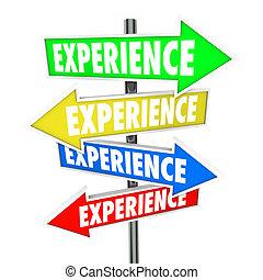 esperienza, fondo, abilità, educazione, know-how, freccia, segni