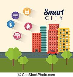 esperto, cidade, predios, app, ícone, jogo