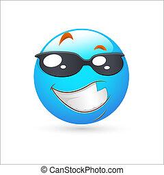 esperto, expressão, smiley, ícone