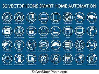 esperto, lar, vetorial, ícones, e, símbolos