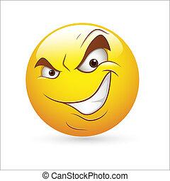 esperto, mal, smiley, expressão