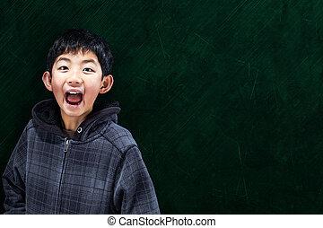 esperto, menino asian, em, escola, conceito