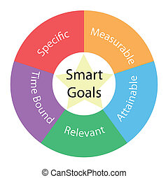 esperto, metas, circular, conceito, com, cores, e, estrela