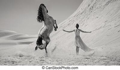 esperto, mulher, com, a, majestoso, cavalo