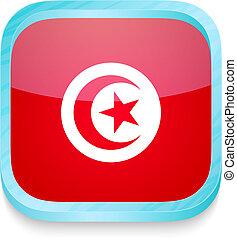 esperto, telefone, botão, com, bandeira tunísia