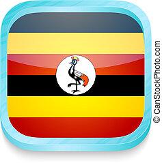 esperto, telefone, botão, com, bandeira uganda