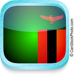 esperto, telefone, botão, com, bandeira zâmbia