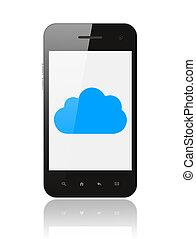 esperto, telefone, com, nuvem, computando, conceito