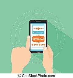 esperto, toque, dedo, telefone, música, download, loja, compra, linha, botão, apartamento