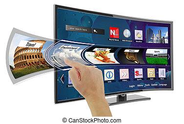 esperto, tv, com, apps, e, mão, tocar, a, tela