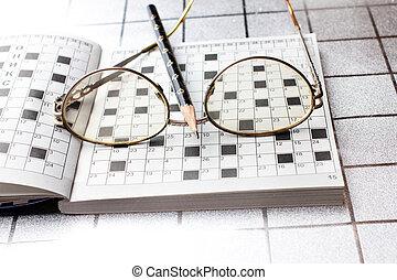 espetáculos, lápis, crossword