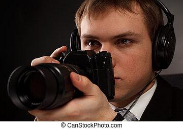espião, com, câmera