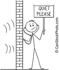espião, ou, phonendoscope, favor, quieto, sinal, estetoscópio, segurando, usando, caricatura, homem