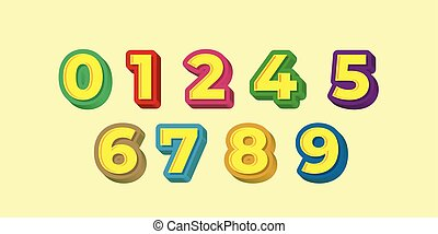 espiègle, coloré, concevoir gabarits, style, 3d, nombre