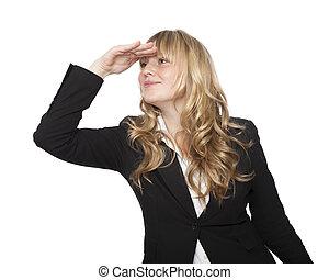 espiègle, distance, regarder, femme affaires