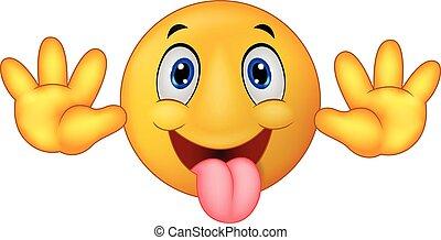 espiègle, emoticon, smiley, dessin animé, jok