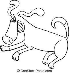 espiègle, livre, coloration, chien, dessin animé