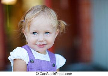 espiègle, portrait, girl, adorable